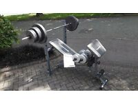 MAXIMUSCLE 2 IN 1 BARBELL & AB BENCH & 66KG WEIGHTS & BARS & DUMBBELLS