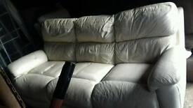 Cream leather 3 seater and chair