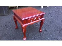 Lovely reproduction French end table with suede lined drawer