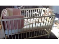 Ikea cot/cotbed comes with mattress, fitted sheet and cot bumper