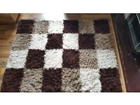 Milan Shaggy Squares Rug (Chocolate 120 x 170 cm) + 3 Beech Effect Cube Coffee Tables [Second hand]