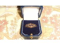 9ct gold amethyst and pearl victorian brooch