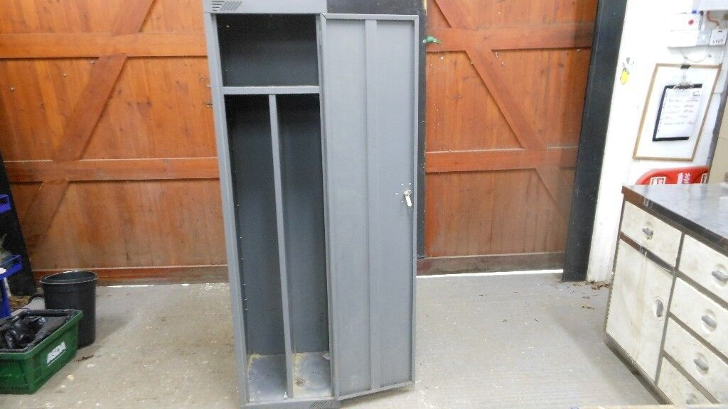 Tall Metal Tool Storage Cabinet 70 Ins High X 18 Wide Deep Garden Tools Brushes Etc