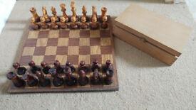 Vintage handmade wooden complete chess set