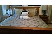 Super king bed frame, mattress and 2 bedside tables