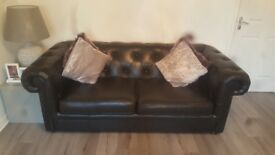 3 seater sofa 2 arm chairs black leather chesterfield 2 years old £700 or nearest offer