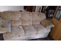 Three seated sofa and matching single chair