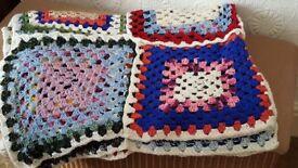 Vintage 1970's Hand Crocheted Granny Blanket
