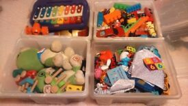 4x boxes of mixed toys