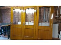 Oak Veneer Glazed Internal Doors x 3