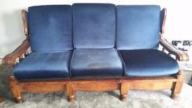 Three piece suite, wooden, blue