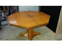 Hardwood octagonal dining table.