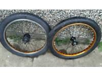 Bmx wheels quando hubs orange rims