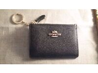 Black leather Coach Coin & Card Holder with Gold Key Chain