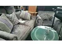 Silver crush fabric sofas -UK manufacturing