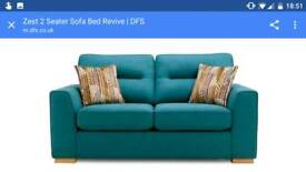 DFS sofa bed in teal and matching single chair