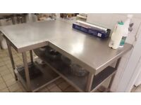 L-shaped stainless steel table