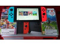 Nintendo Switch (3 Games) neon red/neon blue hardly used