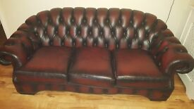 Leather chesterfield sofa + 2 chairs SOLD PENDING PICKUP