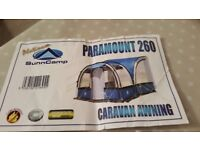 Blenheim Caravan Full Awning size 10 & Sunncamp Paramount 260 Porch Awning Platinum £250 for pair