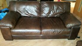 4 seater and 2 seater real leather sofas