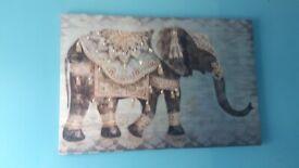 Large elephant diamante canvas picture