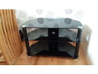 Black Glass TV Stand W80cm D45cm H 49cm As New £30