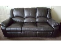 3 seater chocolate brown leather reclining couch