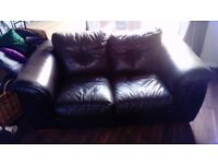 FREE 2 X 2 SEATER LEATHER SOFAS AND STORAGE FOOTSTOOL
