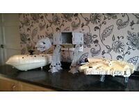 3 x vintage star wars vehicle's - millennium falcon, at-at, transporter