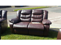 CODE 38 - Vicky 2 Seater Brown Leather Recliner Sofa - Damaged - WAS £499 NOW £229 - Cheap Clearance