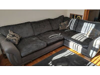 Left-hand facing sofa - black/grey DFS (Shannon)