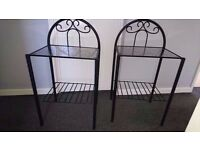 2x black and glass bed side tables