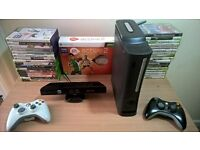 XBOX 360 with Kinect sensor, additional controller and loads of games