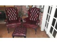Pair Oxblood Wingback Chesterfield Chairs & Footstool