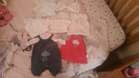 Unisex and baby girl newborn and up to 3 month clothing bundle