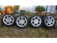 """Genuine Mercedes AMG 17"""" Borbet Alloys with nearly new Continental Tyres"""