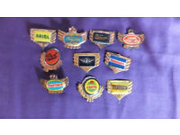 ld vintage ten motorcycle tin collectors badges sign