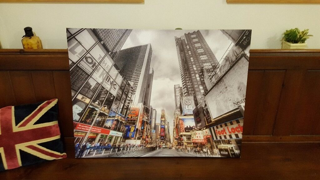 large New York skyling canvas painting