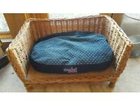 Wicker dog bed with cushion - small dog