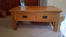 **REDUCED EVEN FURTHER!!** Solid oak coffee table with drawers