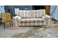FREE SOFA ~ Expensive John Lewis Striped 3 Seater *DELIVERY POSSIBLE* Biscuit Brown(leather corner)