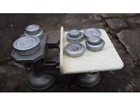 vintage W T avery scales and weights enamel on cast Comes with lots of weights