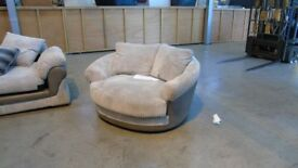 PRE OWNED Swivel Cuddler Chair in Beige / Grey Fabric