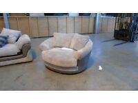 PRE OWNED Swivel Cuddler Chair in Beige / Grey Fabric