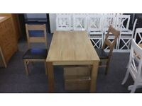 New Solid Oak Dining Table & 6 Ladderback Chairs Can Deliver View Collect Hucknall Nottingham