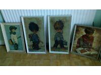 4 x vintage 60's prints guitar boy dupont / the scholar - michel thomas