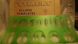 Timely Ellipse Large Set T-93-A, Drawing Draft Set, 25 ellipses