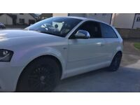 Audi A3 tdi s line 170 bhp 2009 model white wrap with pink purple pearl very clean car