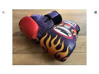 TWINS SPECIAL LEATHER PURPLE FLAMES 14oz MUAY THAI/BOXING GLOVES